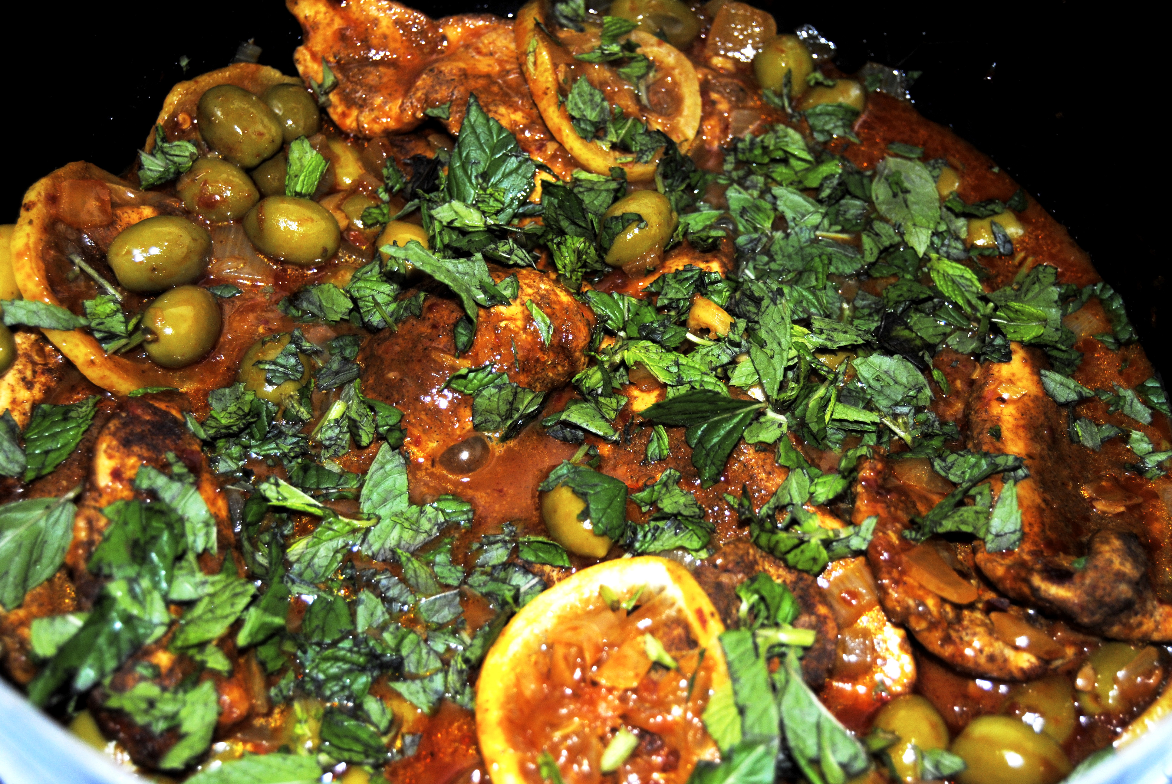 Moroccan Chicken with (Preserved) Lemon, Green Olives and Harissa | my ...