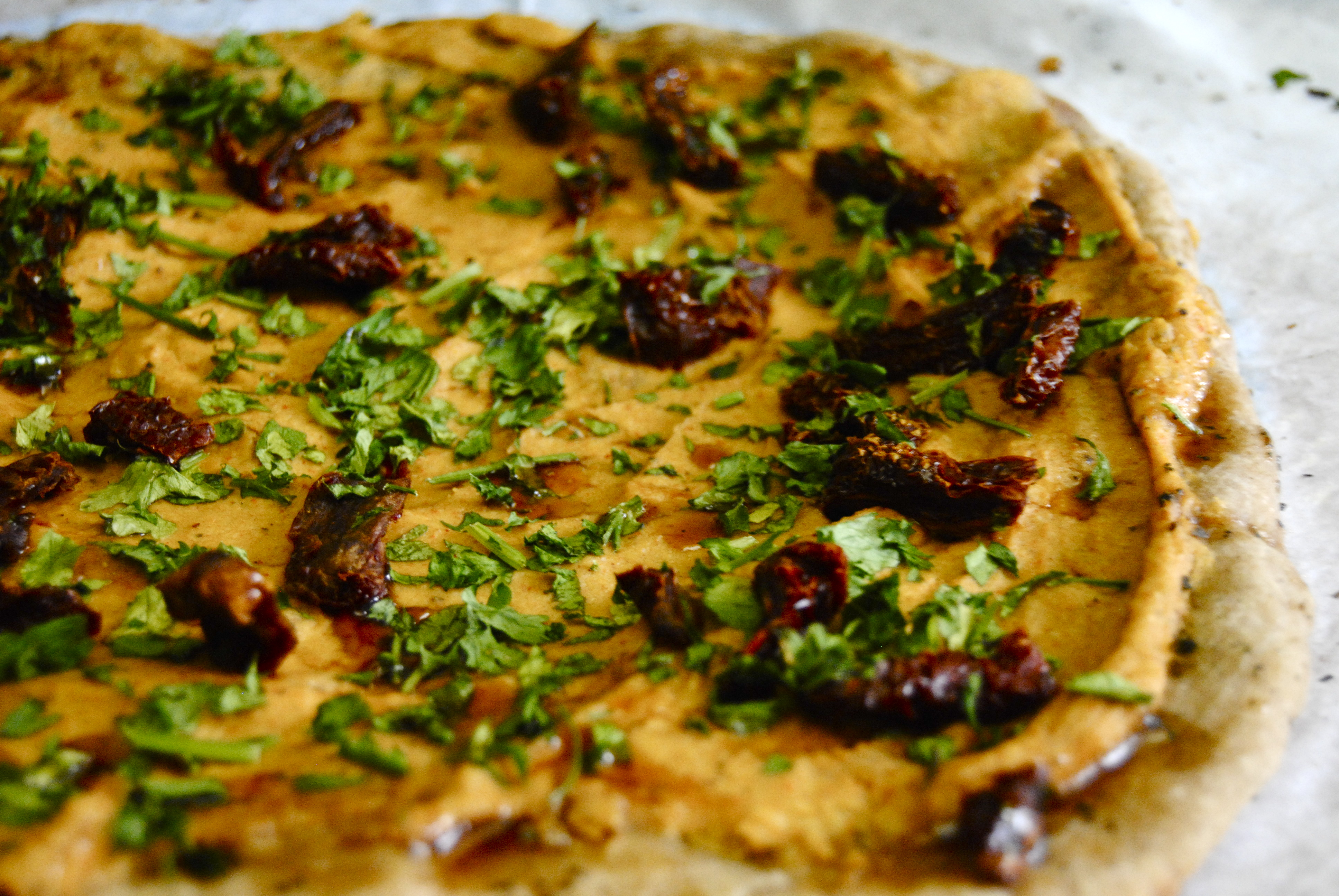 Hummus & Sun-Dried Tomato Pizza with Balsamic Vinegar Reduction (Whole ...